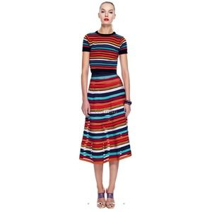 Cynthia Rowley Multi Stripe Mesh Skirt